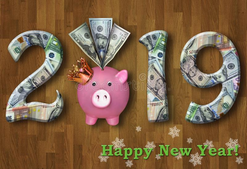 New Year 2019 with a piggy bank 2 royalty free stock photography