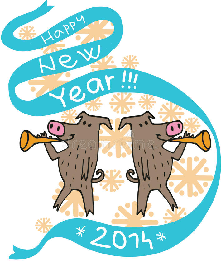 New Year Pigs Stock Image