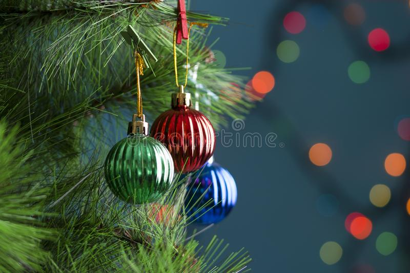 New Year pine tree with balls. Close-up.  royalty free stock images
