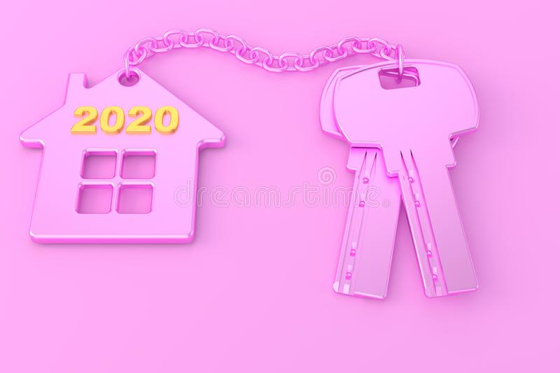 2020. New Year. Pink house keys with pink trinket house isolated on white background. Real estate. 3d rendering. new home concept royalty free illustration