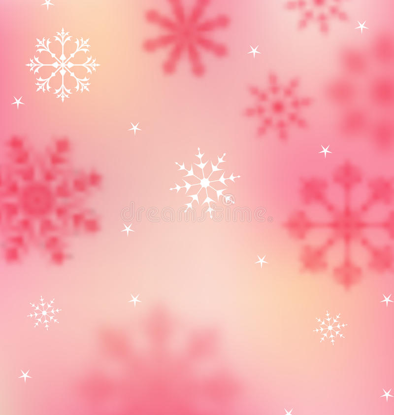 New Year pink wallpaper with snowflakes royalty free illustration