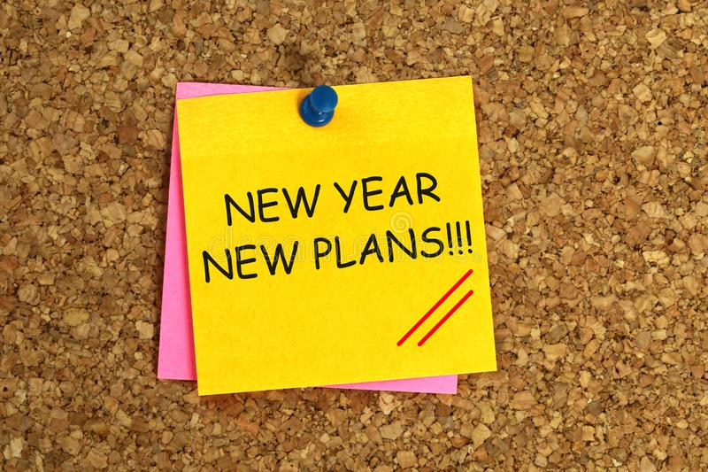 New year new plans sticky. New year new plans yellow sticky stock illustration