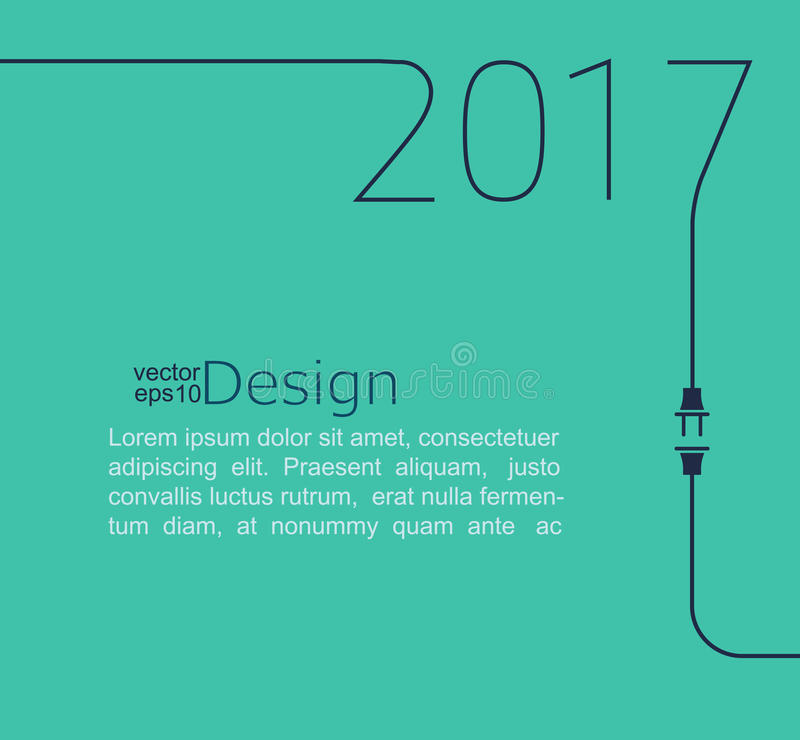 New Year 2017 with plug and socket. vector illustration