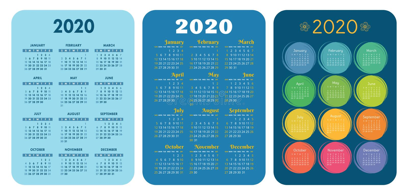 2020 new year. Pocket calendar set. Vector design collection. Color English calender. Basic grid template for print. Week starts royalty free stock photos