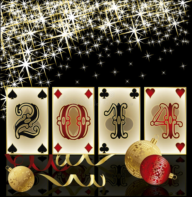 New 2014 Year poker style, casino greeting card vector illustration