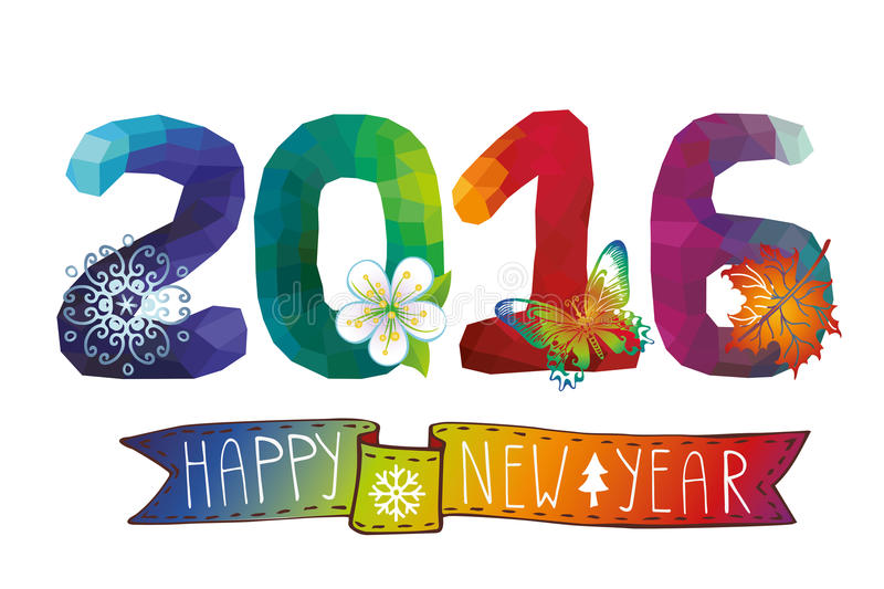 New year 2016.Polygons number,icons,ribbon stock illustration