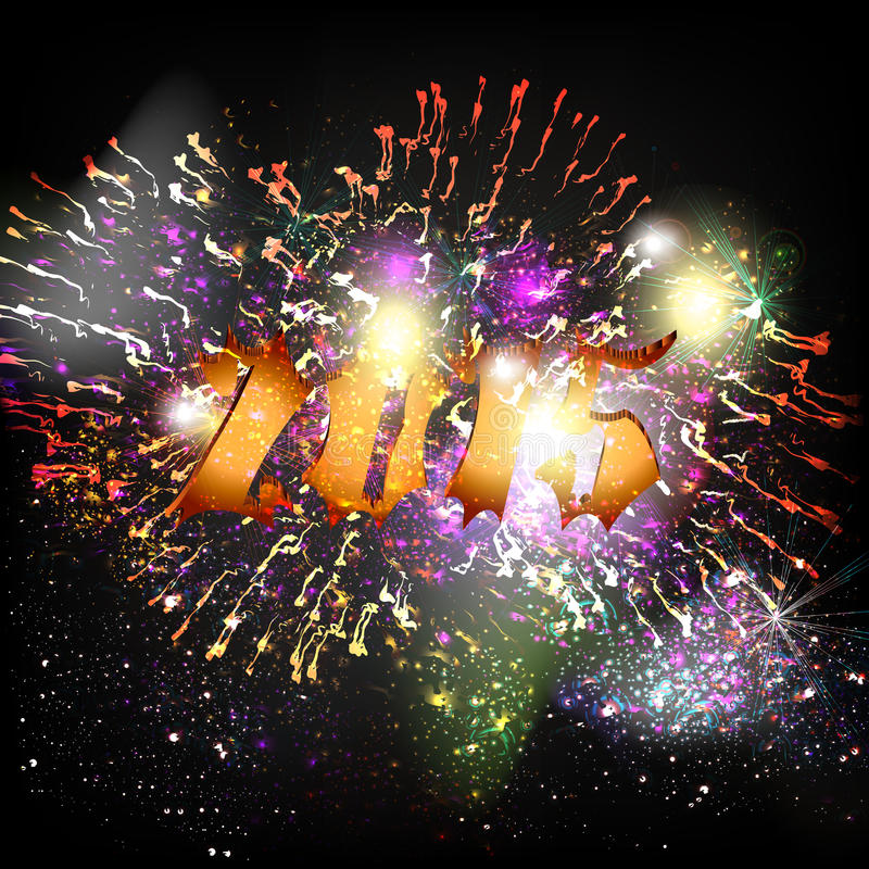 New Year poster with number 2015 and fireworks stock illustration