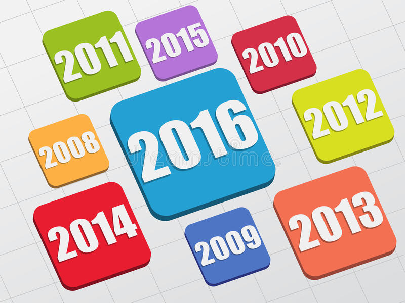 New year 2016 and previous years. In 3d flat colored tablets, business holiday concept vector illustration