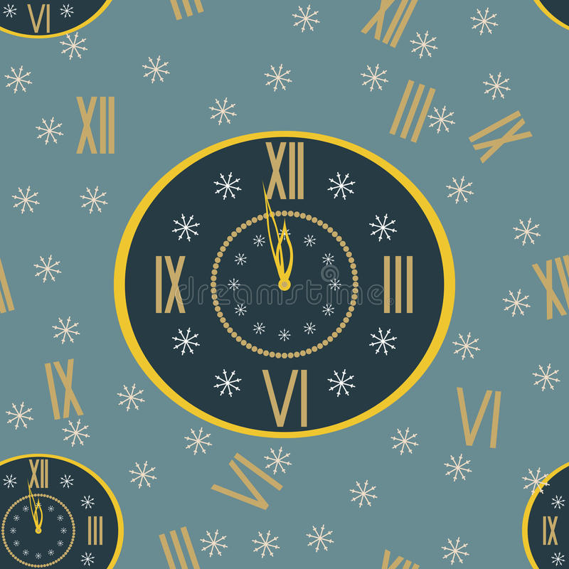 New Year print of clock shows few minutes before midnight stock illustration