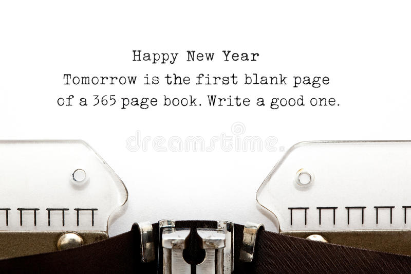New Year Quote Typewriter. Tomorrow is the first blank page of a 365 page book. Write a good one. New Year quote printed on an old typewriter stock photos
