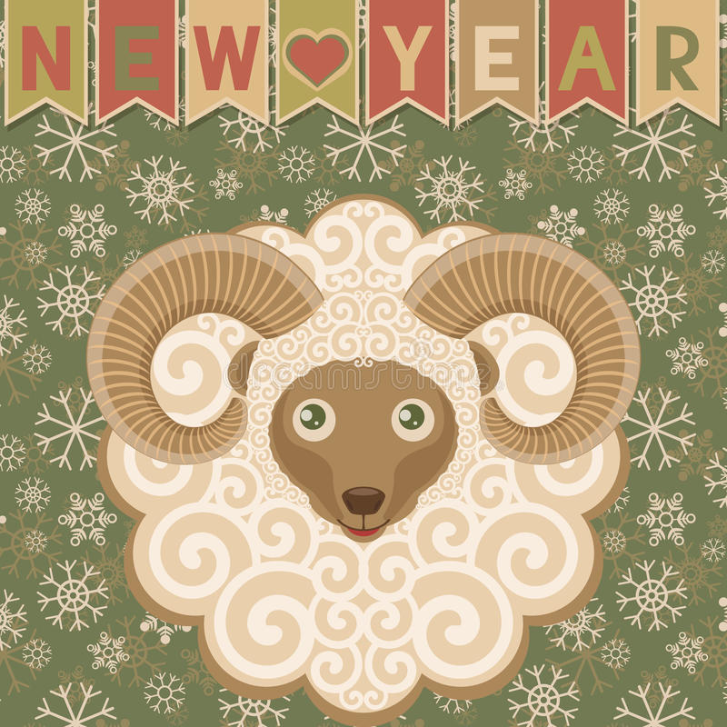 New year with ram. Sheep symbol of New year 2015. Greeting card. Background with snowflakes, flags and cute ram. Retro style. Vector illustration vector illustration