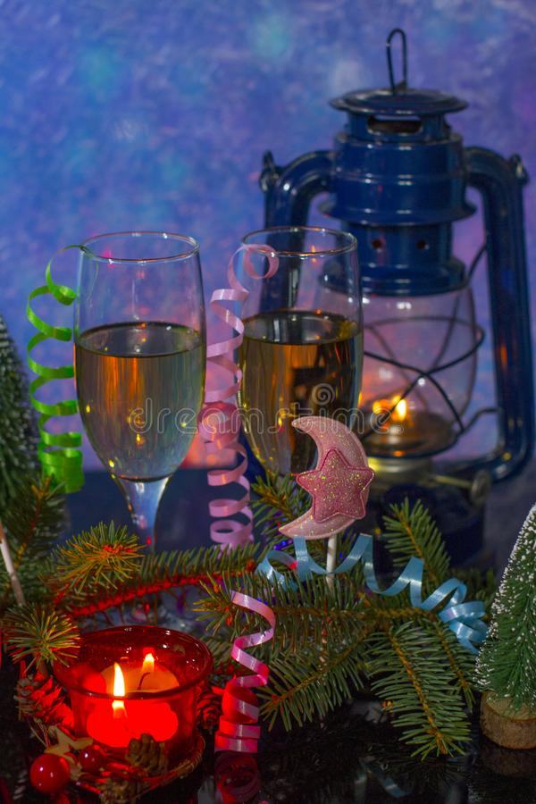 New year of the rat 2020. A glass of champagne and a new year holiday stock photography