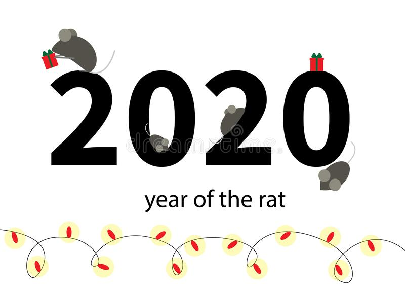 New Year of the rat or mouse. Mice with gifts on the background of the numbers 2020. For the new year. Holiday garlands vector illustration