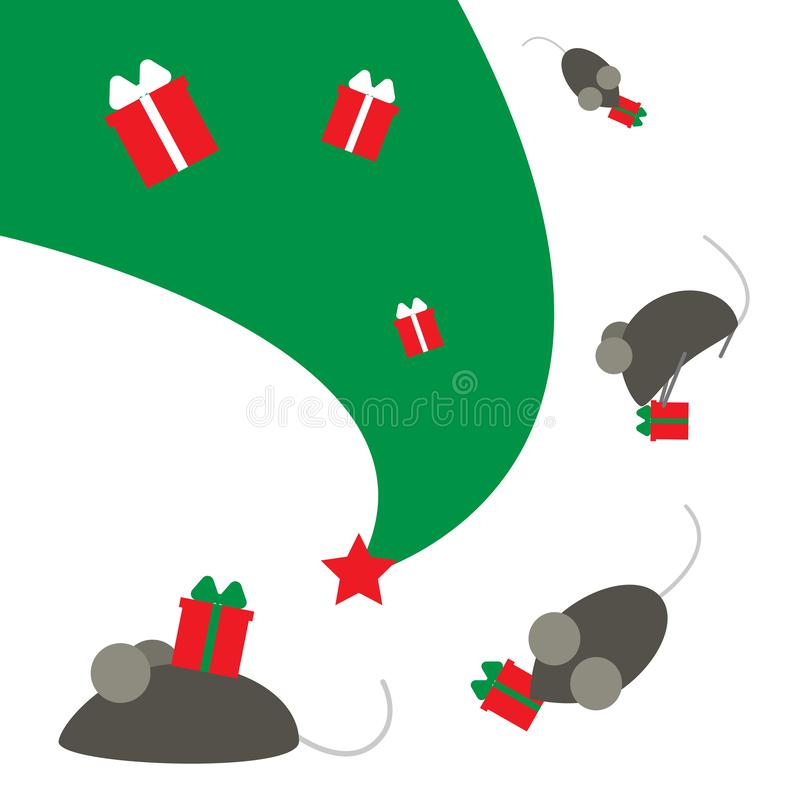 New Year of the rat or mouse. The symbol of the Chinese year. Mice run on a Christmas tree with gifts. stock illustration