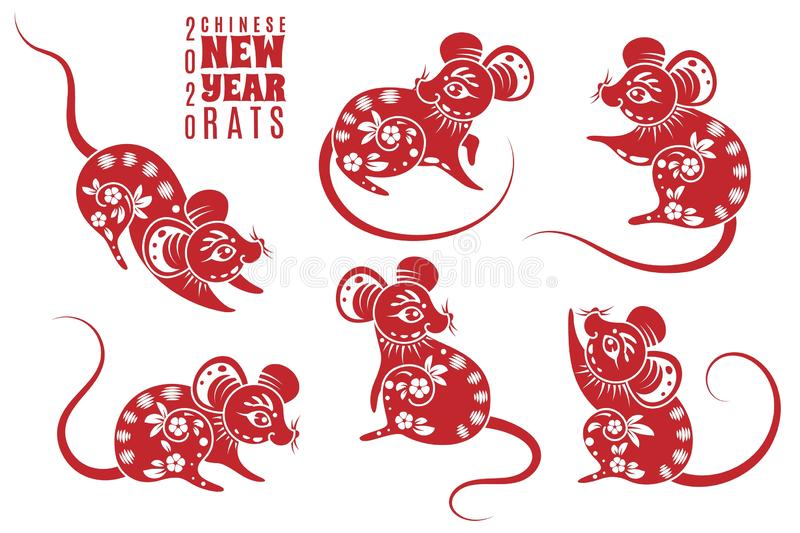 New year 2020 rat. Red rats with asian pattern elements. Chinese astrological holiday symbol for creative zodiacal stock illustration