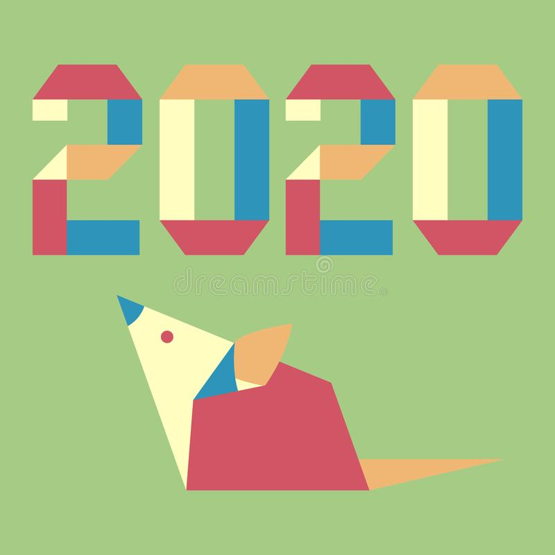New year Rat symbol 2020 Chinese calendar origami. Happy new year. Vector illustration with origami 2020 year numbers and rat. Rat zodiac sign, symbol of 2020 on vector illustration