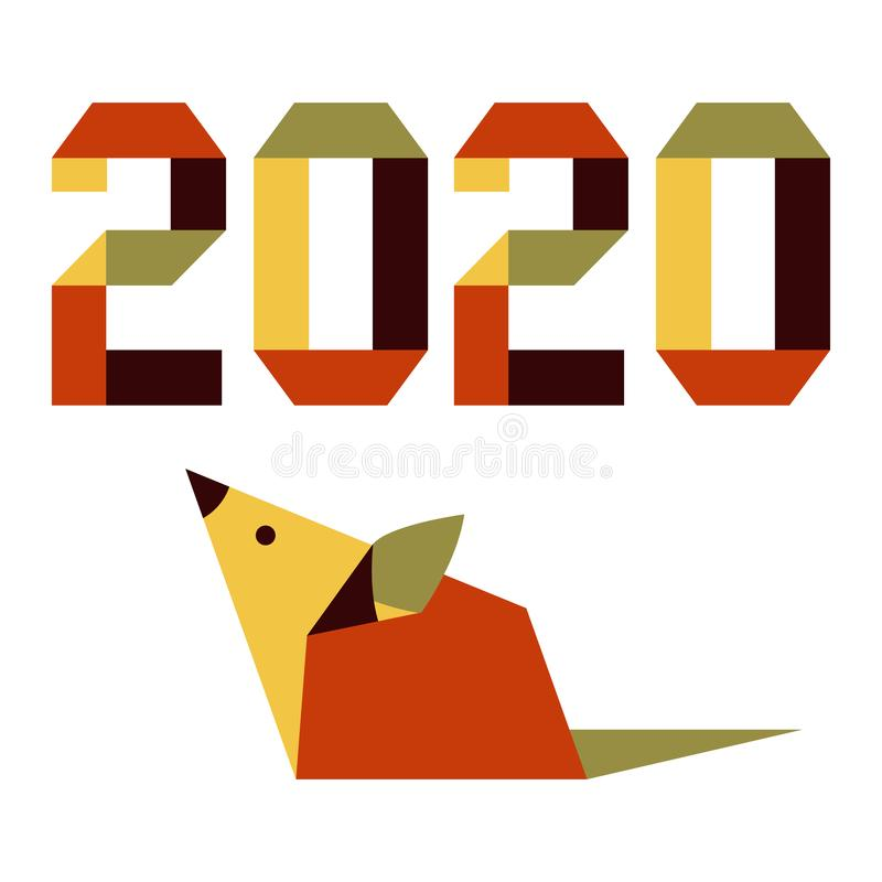 New year Rat symbol 2020 Chinese calendar origami. Happy new year. Vector illustration with origami 2020 year numbers and rat. Rat zodiac sign, symbol of 2020 on stock illustration