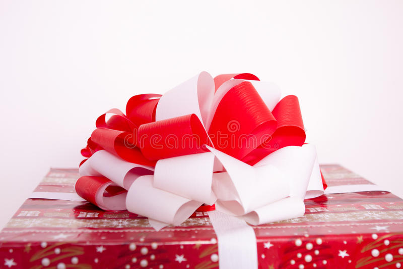 New year red boxes. Background with ribbon royalty free stock photos