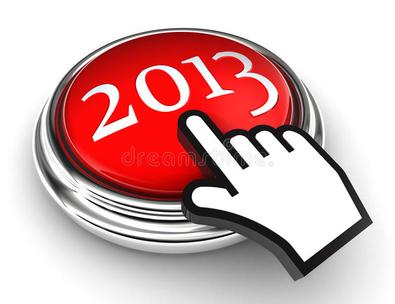 New year red button and cursor hand vector illustration