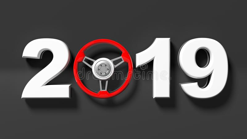New year 2019 with red car`s steering wheel on black background. 3d illustration vector illustration