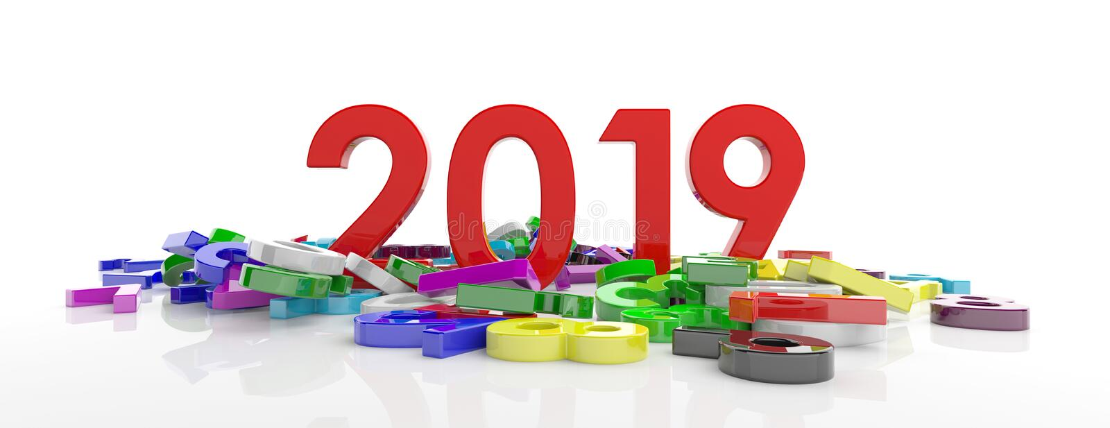 2019 New year. Red 2019 figures and colorful numbers heap on white background, banner. 3d illustration stock illustration