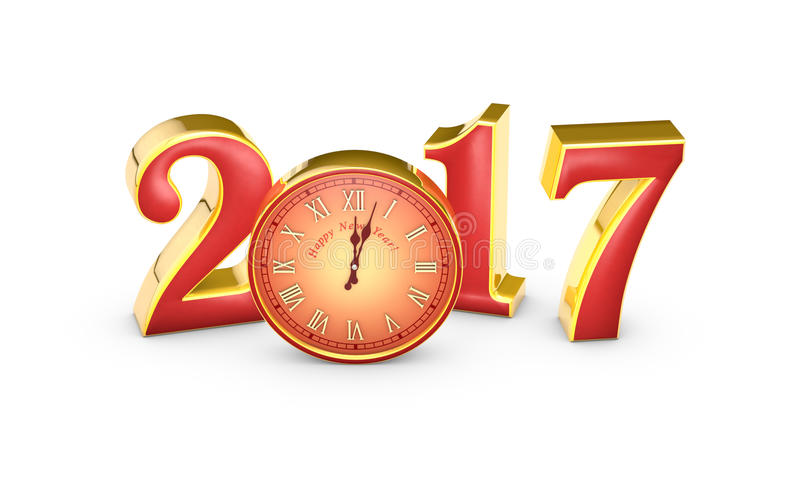 New Year 2017...Red numbers and clock, midnight.. 3D illustration. Christmas symbol and metaphor the clock. Happy New Year 2017. Isolated white background stock illustration