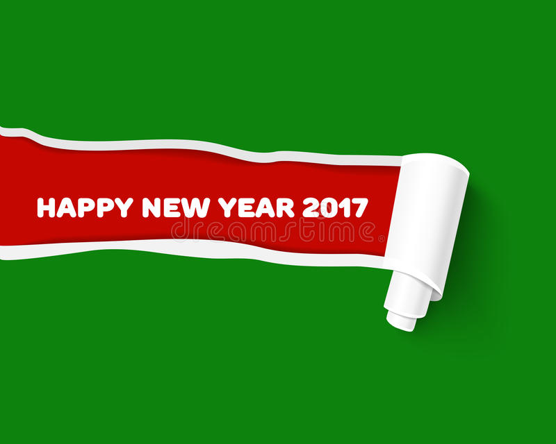 New Year red vector torn edge template and paper. Green teared paper edge on red background for New Year promo and advertising. Vector torn paper template. Hole vector illustration