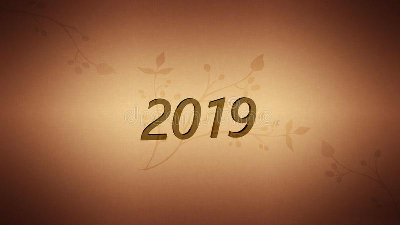 New Year 2019 resolution concept. Word abstract in vintage letterpress wood type blocks against grunge background royalty free illustration