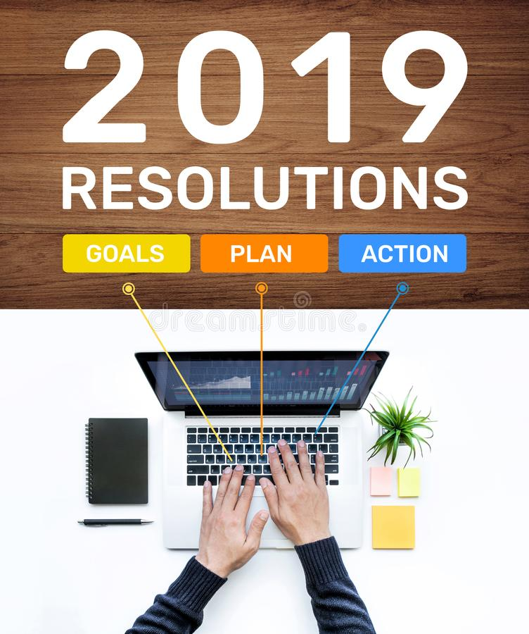 2019 new year resolution concepts with goal,plan,action text and male using computer laptop.Business success ideas. Images royalty free stock photography