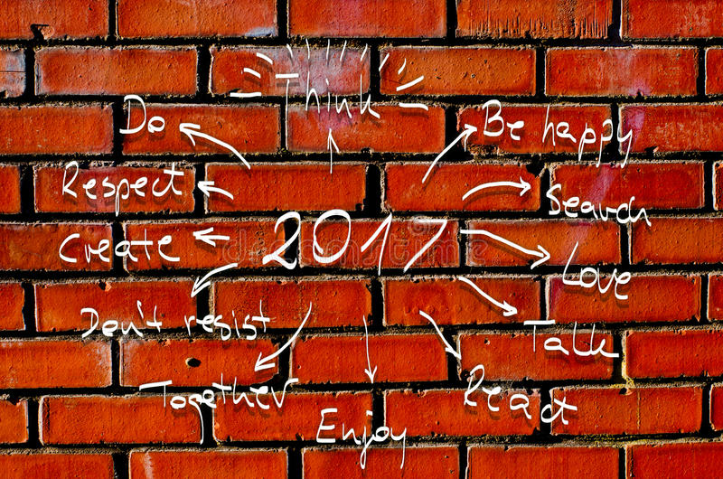 2017 New Year Resolution, goals written on cardboard with hand drawn sketches. 2017 New Year Resolution goals written on cardboard with hand drawn sketches royalty free stock images