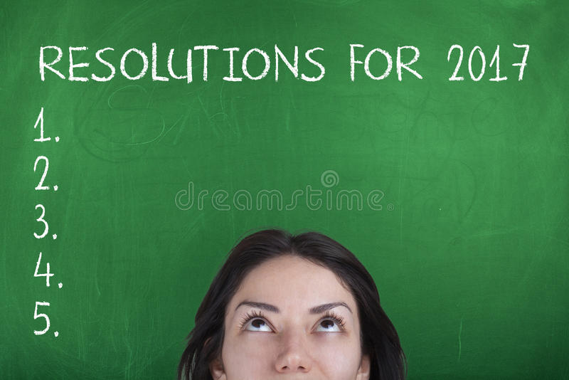 New year resolutions for 2017. New year resolutions, goals, aspirations, plans list on chalkboard royalty free stock photography