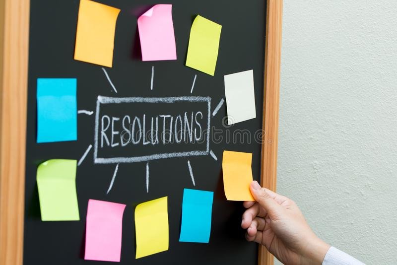 New year resolutions. Or goals with sticky notes on blackboard royalty free stock photos