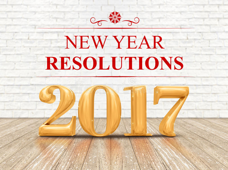 2017 new year resolutions golden color 3d rendering on white b. Rick wall and wood floor room,Holiday card royalty free stock images