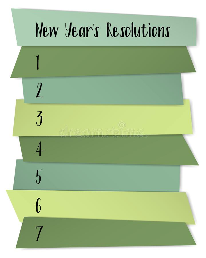 New Year Resolutions List Vector Template For Goals. Stock