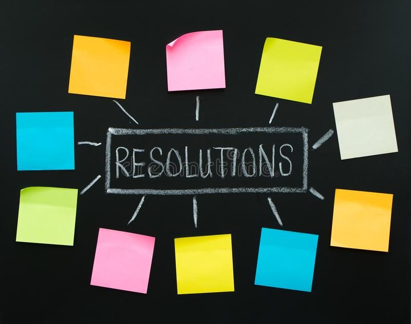 New year resolutions. Or goals with sticky notes on blackboard royalty free stock photo