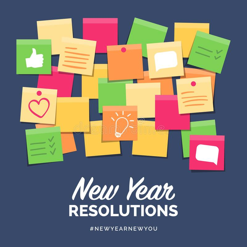 New year resolutions on stick notes royalty free illustration
