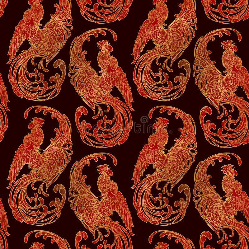 New year rooster as a symbol of the 2017 . Seamless pattern. Intricate linear drawing the crowing on contrast background. EPS10 royalty free illustration