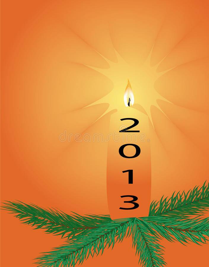 New Years 2013 with a Christmas candle royalty free illustration