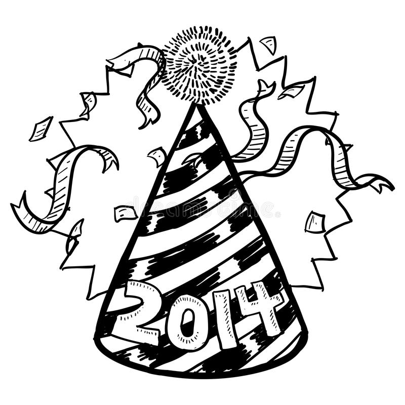 New Year S 2014 Party Hat Sketch Stock Image