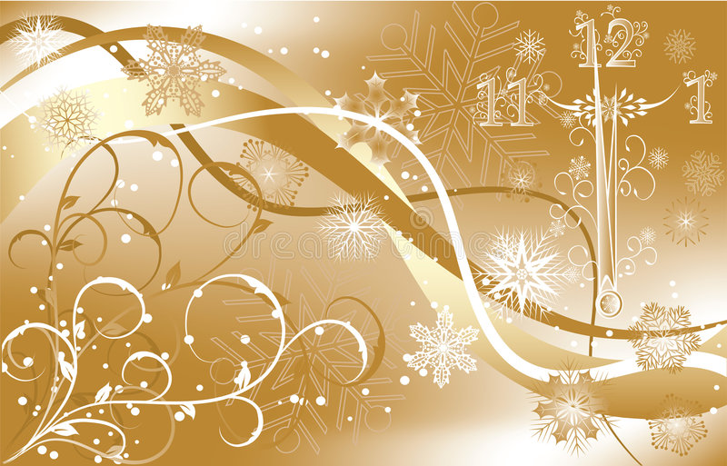 New year's background with clock, vector vector illustration