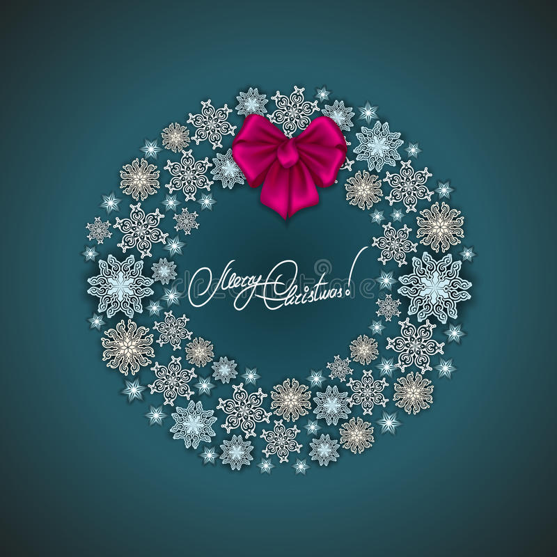 New Year's background. With paper snowflakes, shiny stars, ribbon, bow, wreath for greeting card, invitation, congratulation. Christmas festive background stock illustration