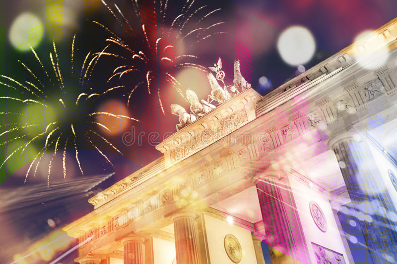 New Year`s at Brandenburger Gate in Berlin stock photography