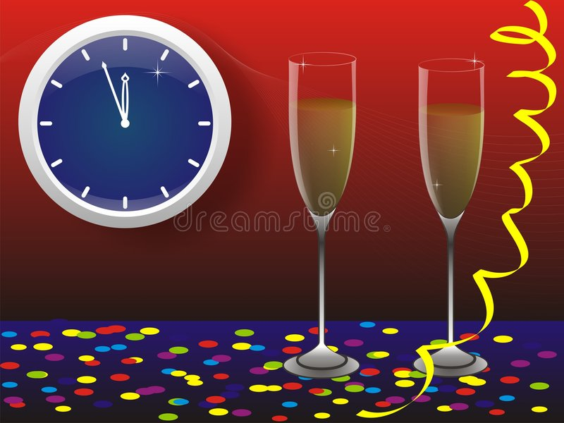 New Year's card. New year, wine glasses, shine, wine, red background, Streamer royalty free illustration