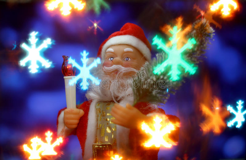 New Year`s card background with Santa Claus stock photography