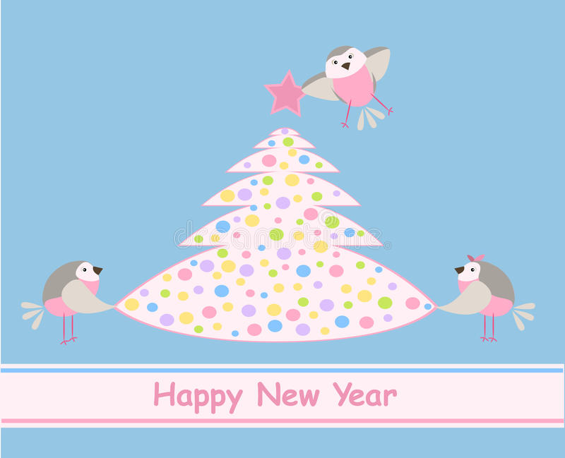 New Years card. Birds and a colourful Xmas tree royalty free stock photo