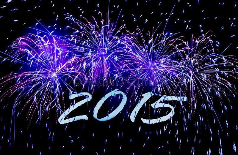 New Year's Card 2015 with fireworks stock photos