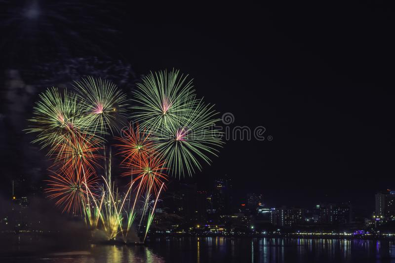 New Year`s celebration fireworks stock images