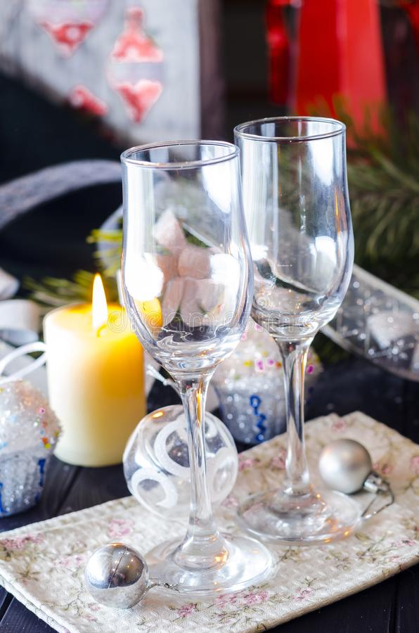New Year`s celebratory table with glasses stock photos