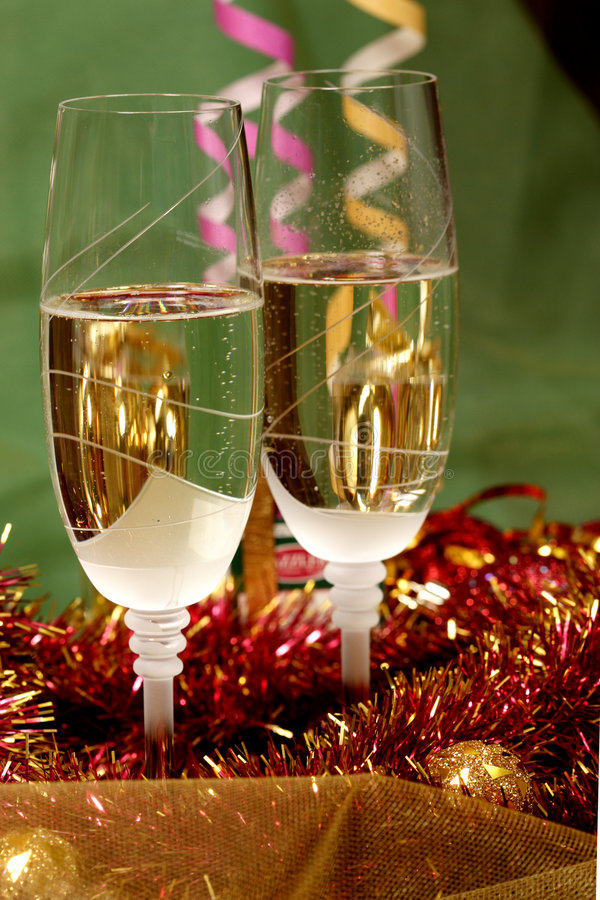 New Year's champagne stock photos
