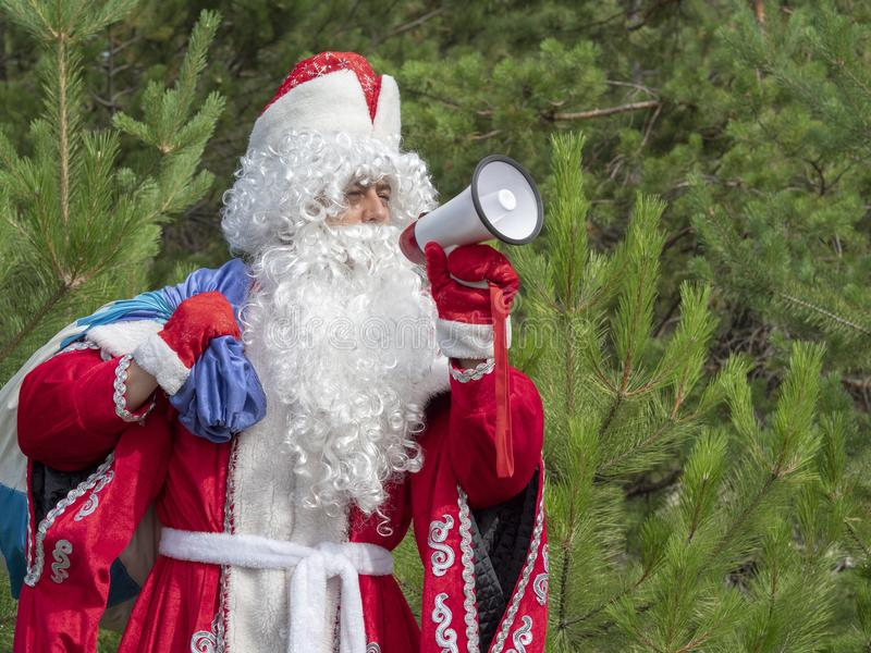 Father Frost shouts in the megaphone. The New Year`s character informs in a loud-hailer against the background of the nature stock images